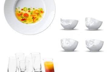 Schiefe Teller, Schüsseln und Gläser: Eyecatcher auf dem Esstisch