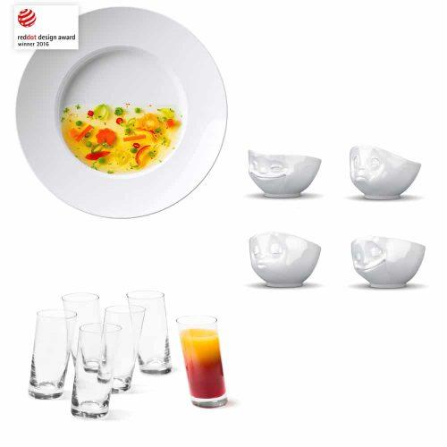 Schiefe Teller, Schüsseln und Gläser | Eyecatcher auf dem Esstisch!